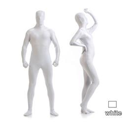 costume pieno bianco del bodysuit Sconti Kid Adult Completo corpo bianco Unisex Lycra Spandex Bright 2nd Skin Costumi Zentai Body Body Unitard