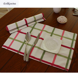 Wholesale Green Kitchen Table - Free Shipping Pink Green Plaid Placemat Dining Table Coaster Cloth Insulation Coffe Cup Pad Kitchen Mantel Individual For Table