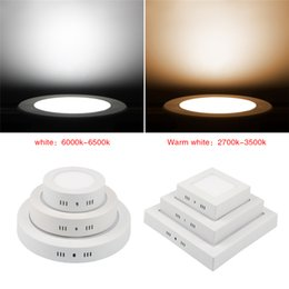 2019 panel de luz led de superficie montada 25w 6W 12W 18W 25w 30w redondo / cuadrado Led regulable de superficie montada luz del panel Led abajo luz led downlight techo AC85-265V panel de luz led de superficie montada 25w baratos