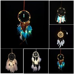 Wholesale Pendant Light Home - LED Light Wind Chimes Dreamcatcher with Feather Wall Hanging Car Pendant Ornament Home Decor Wedding Decoration Party Gifts