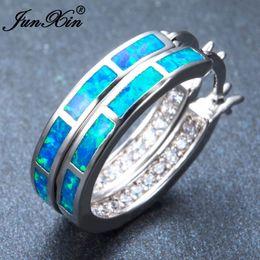 argento sterling opalino Sconti Intera venditaJUNXIN Orecchini a cerchio tondi blu Orecchini a opale blu 925 gioielli in argento sterling riempiti per le donne