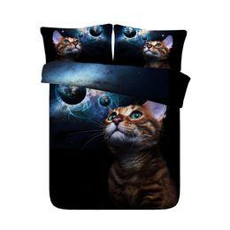 4/6 pcs JF457 Cor Escura cama conjuntos de cama universal Único completo para crianças adolescentes adorável gato impressão capa de edredão set rainha king size de