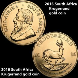 Wholesale 24k Gold Plated Coins - Free Shipping 2016 South Africa Krugerrand Gold Coin 24K Gold Plated Proof Gold Coin Without Copy or Replica