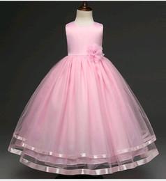 Новые свадебные платья для детей Маленькие девочки пухлые сплошной цвет кружева сетки бисером платье девушки цветка выпускного вечера подходят 4-12 лет ребенок от