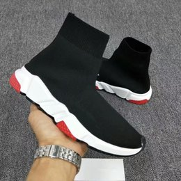 Wholesale famous brands socks - New Men and Women Designer Shoes Paris Famous Brand Speed Trainer Mid Black White Top Quality Sneakers Mens Sock Shoes bll180113002