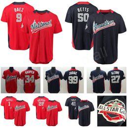 Wholesale black baseballs - 2018 All Star Baseball Jersey 9 Javier Baez 99 Aaron Judge 27 Jose Altuve Trout Buster Posey Ozzie Albies Mookie Betts Chris Sale Harper Red
