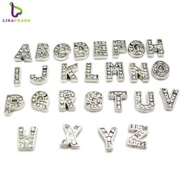 Wholesale Initial Charms Pendant - 7MM 130pcs Sparkling Crystal A-Z Alphabet Letter Floating Charm Initial Locket Charms Pendants For Floating Locket DIY Charms LSFC113*130