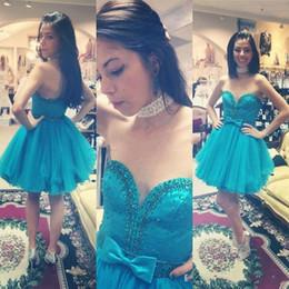 corazones Rebajas Vestidos de fiesta corto de color turquesa Sweetheart sin respaldo con cuentas Sash Bow Mini Girls Prom Party Gowns Vestido de cóctel Vestidos De Fiesta