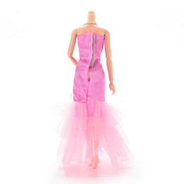 Wholesale Handmade Wool Dresses - 1Pcs Handmade Fishtail Dress For Barbie Doll Lace Flower Doll Dresses Dolls Accessories 3 Color