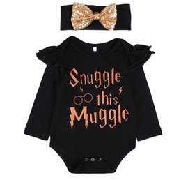 Wholesale Cute Onesies - INS 2piece set outfits baby girl toddler Letter romper diaper covers bloomers play suits onesies+sequins glitter headband B11
