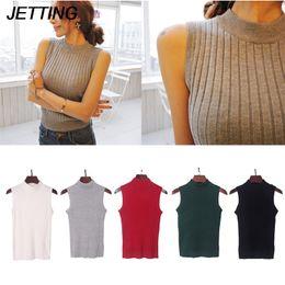 Wholesale Vest Turtleneck - JETTING 1PC 2017 Korean Women Summer Mock Neck Top Turtleneck Sleeveless T-shirt Slim Club Knitted Vest Female Tee Knitwear