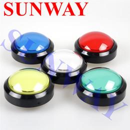 Wholesale illuminated push switch - Big Dome Pushbutton 100mm Illuminated Arcade Push Buttons Led 12v Power Button Switch Push Button with Microswitch