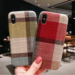 Telemóveis casos novos estilo on-line-New Grid ClothTexture Casos para iPhone XS Max Caso Estilo Britânico para iPhone XR XS iPhone8 Além de Casos de Telefone Celular