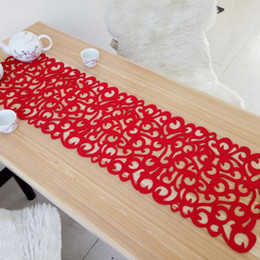 Wholesale felt placemats - 102 x 29cm New Hollow Rectangle Shape Felt Tablecloth Runner Placemats Table Mats Household Decorations For Home Table