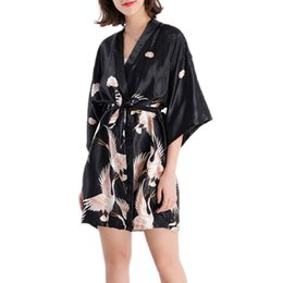 ice belts Coupons - Womens Half Sleeve Wrap Robe Ice Silk Open Front Bathrobe Red-Crowned Crane Printed Nightgown With Sash Belt Sleepwear W729