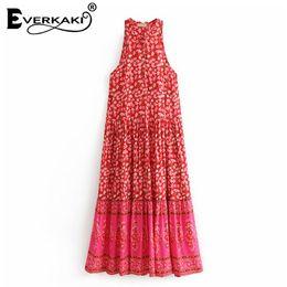 65c91b18c458 vestiti di cotone lunghi da donna Sconti Everkaki Red Boho Floral Print Maxi  Dress Donna in