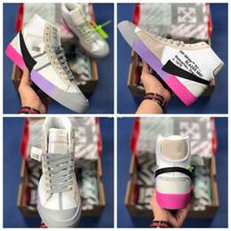 Blazers morados online-2018 Serena Williams The 10 Brand OFF Mid Blazers Las zapatillas de deporte Queen 2.0 Pink Purple Rainbow para mujer