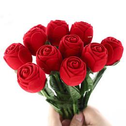 Paquetes de encantos rojos online-Charm Red Rose anillo de la flor caja del partido pendiente de la boda pendiente de la joyería caja de regalo caja de presentación de cajas de juguetes de Navidad