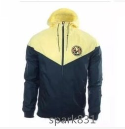 Wholesale America Jacket - Best quality 17 18 Club America Yellow Authentic Windrunner Season thin secmtion en Hoodies Chamarra Rompevientos men Jacket Training Hoodie