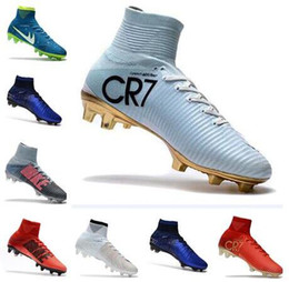 Wholesale High Ankle Shoes Mens - Newairl kids soccer shoes for boys mercurial superfly fg cr7 sock boots football womens mens high tops ronaldo ankle indoor soccer cleats