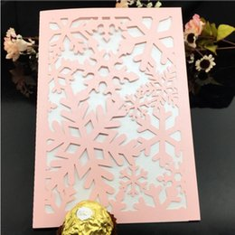 Wholesale Holiday Party Themes - Snowflake theme wedding engagement invitations hollow laser cutting winter wedding card holiday party invites multi colors