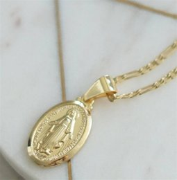 Wholesale mary gifts - Hot Vintage Gold Color Cross Pendant Necklace Men Women Jesus Virgin Mary Necklaces Easter Day's Gift Fashion Jewelry B171