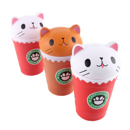 Wholesale rubber cat toy - 2018 Cat Squishy Toys Coffee Cup Squishies Cute Animal Slow Rising Vent Children Toy Gifts New 14cm Jumbo