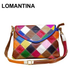 a401e614539e Genuine Leather Women s Shoulder Bag Fashion Patchwork Plaid Women Cross  Body Bags Colorful Tote Girl Messenger Bag affordable patchwork bag leather  ...