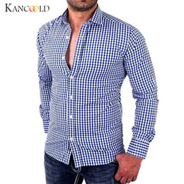 85df67f88bd 2017 Bran New Stylish Tops Men s Casual Lapel Plaid Shirts Male Long Sleeve  Slim Fit Business Style Cloth Casual Shirt Jy20
