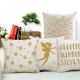 Wholesale Brown Modern Sofa - Modern Linen Cushion Cover Golden Leaf Girl Letter Printed Pillow Cover Home Decorative Pillow Case for Sofa Seat Car