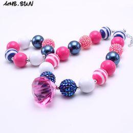 Wholesale Chunky Rhinestone Bracelets - MHS.SUN Hot Pink+Navy Color Chunky Necklace&Bracelet Set Fashion Rhinestone Beads Children Girl Bubblegum Chunky Bead Necklace Jewelry Set