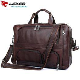 Wholesale patent length - Wholesale-LEXEB Cow Leather Lawyer Briefcases Solid Men's 17.3 Inches Laptop Bag Big Vintage Business Travel Bags 44cm Length Brown
