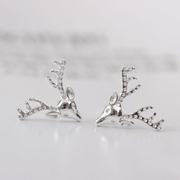 Wholesale Deer Head Charms - New arrival 925 Sterling Silver Earring fashion jewelry woman's deer head stud kawaii charm wholesale woman jewelry display