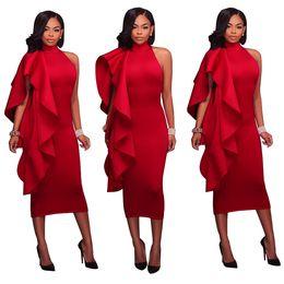 Femmes New 2018 Casual Sexy Robes Élégantes Solide Couleur Irrégulière Flouncing Off L'épaule Haute Taille Party Club Robes Midi Moulante Dress ? partir de fabricateur