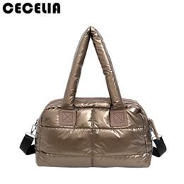 Wholesale winter cotton tote handbag - Cecelia Winter Space Bale Woman Cotton Totes Feather Down Shoulder Bag birthday gift Designer lady handbag