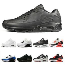 huge discount f04a2 45313 90 schuhe herren frauen laufschuhe schwarz rot weiß trainer air90 kissen  oberfläche atmungsaktiv sport sneaker schuhe größe 36-45