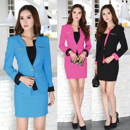 Wholesale Beauty Salon Wear - Wholesale-Formal Blue Blazer Women Skirt Suits Work Wear Sets Ladies Office Uniform for Beauty Salon Free Shipping