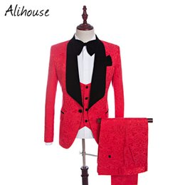 Wholesale Tuxedo Suits Men Printed Vest - Brand New Groomsmen Shawl Lapel Groom Tuxedos Red White Black Men Suits Wedding Best Man Blazer (Jacket+Pants+Tie+Vest) C45