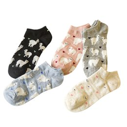 Wholesale anti friction socks - 5 Pairs Women Cute Sock Trendy Alpaca Jacquard Pattern Casual Women Socks Comfortable Anti -Friction Girl Ankle Cotton Sock Meias
