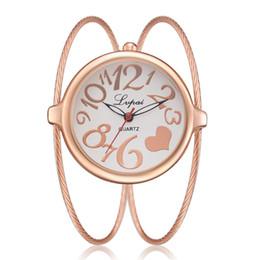 Женские круглые часы онлайн-Женские кварцевые часы Heart Shape Fashion Slim Bracelet Watches Женские повседневные платья Наручные часы Small Round Quartz Watch Simple