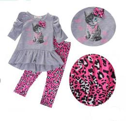 vestiti del leopardo della neonata Sconti Neonati bambini neonate abiti autunno vestiti t-shirt top vestito + pantaloni di leopardo 2 pz / set abiti bambini ragazze moda vestito