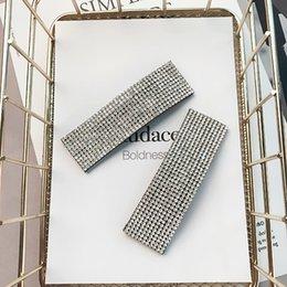 vendre la ligne des cheveux Promotion 2pcs mode femmes brillantes strass 8 cm grande taille épingles à cheveux de luxe plein de cristaux géométrique épingles à cheveux grands clips de cheveux
