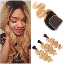 Wholesale Root Light - Dark Root Honey Blonde Ombre Virgin Peruvian Human Hair Bundles Deals with Closure Body Wave 1B 27 Light Brown Ombre Human Hair Weaves