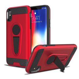 Iphone caso armatura dura online-Custodia robusta per Kickstand Armor con supporto magnetico per auto resistente all'usura per iPhone X XR Xs Max 8 7 6S Pus Samsung S8 S9 S10 S10 S10Plus Nota 9 8