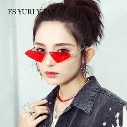 62c226fe330 Rimless Cat Eye Sunglasses Men Women Cool Fashion Brand Designer Small Size  Triangle Sun Glasses Candy Colors Double Lens UV400