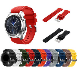 Wholesale White Watch Band Replacement - Soft Silicone Man Watch Replacement Bracelet Strap for Gear S3 Frontier Classic Watch Band 22mm for Samsung Gear S3