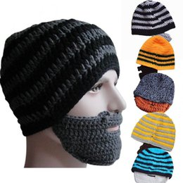 44f499a8fd7 winter Fashion Mustache hat Handmade Knitted Crochet Beard Hat Bicycle Mask  Ski Cap roman knight octopus Cool Funny beanies Gift CNY794