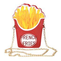 2020 bolsos de forma única Cruzado única de dibujos animados Bolsas para mujeres hamburguesa patatas fritas palomitas Forma mensajero del hombro del bolso de los bolsos las patatas fritas rebajas bolsos de forma única