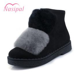 Wholesale Cute Warm Boots Women - Nasipal Snow Boots Fur Women Winter Boots Warm Cute Ankle For Woman Winter Shoes Low Heel Women Shoes Plus Size 30-45 C218