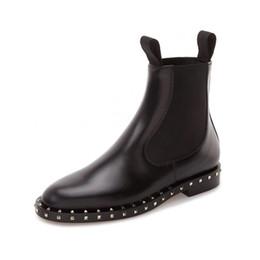 Remaches botines mujer botas de cuero genuino martin british style 2018 banda elástica zip botas cortas y botas femininas desde fabricantes